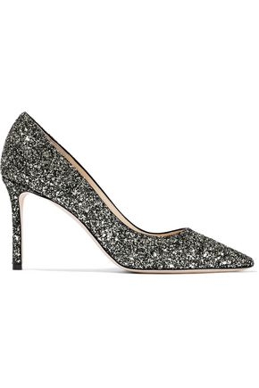 JIMMY CHOO Romy 85 glittered leather pumps