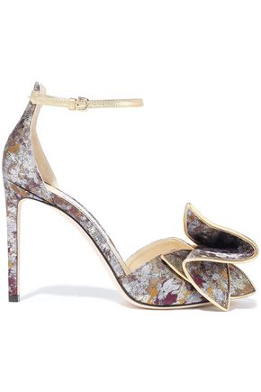 JIMMY CHOO Karlotta 100 bow-embellished brocade sandals