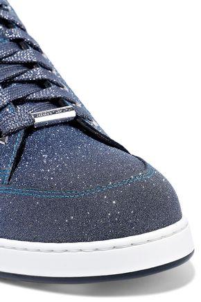 JIMMY CHOO Miami glittered leather sneakers