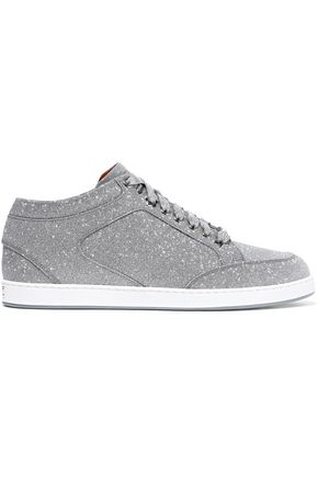JIMMY CHOO Miami glittered leather sneakers