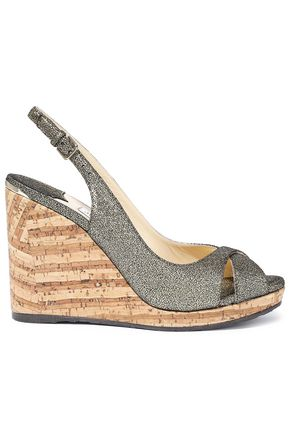 JIMMY CHOO Amely 80 metallic cracked-leather cork wedge sandals