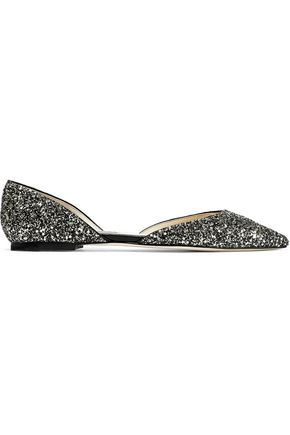 JIMMY CHOO Esther glittered leather point-toe flats
