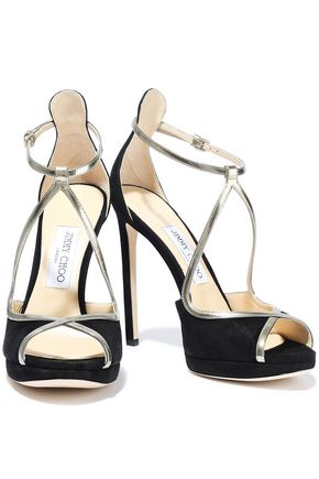 42c83f3c5e6b JIMMY CHOO Fawne 120 metallic leather-trimmed suede sandals