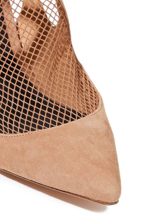 ALEXANDER WANG Cecile mesh-paneled suede pumps