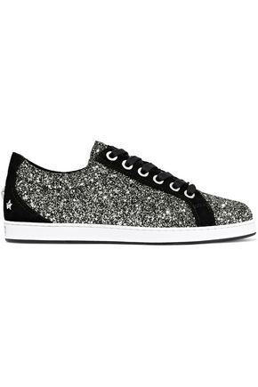 JIMMY CHOO Cash studded glitter-paneled suede sneakers