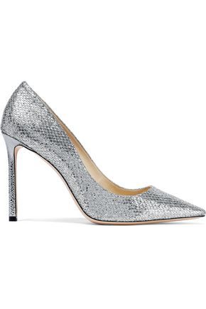 JIMMY CHOO Romy 100 glittered woven pumps