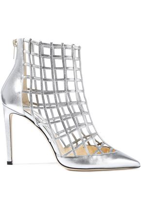 JIMMY CHOO Cutout metallic leather ankle boots