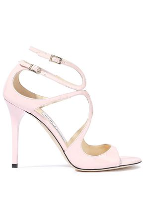 JIMMY CHOO Lang 100 cutout patent-leather sandals
