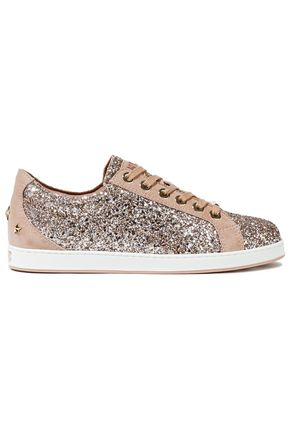 JIMMY CHOO Cash studded suede-trimmed glittered leather sneakers