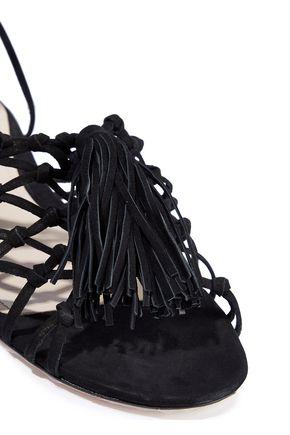 SCHUTZ Marrie knotted tasseled suede sandals