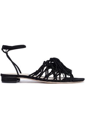 SCHUTZ Marrie knotted tasseled suede sandals