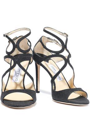 JIMMY CHOO Glittered leather sandals