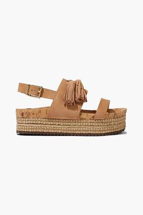 SCHUTZ Monica tasseled nubuck platform espadrille sandals