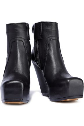 RICK OWENS Leather platform ankle boots
