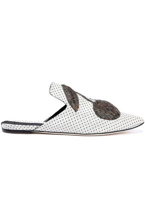 SANAYI 313 Ciliegia metallic embroidered polka-dot satin slippers