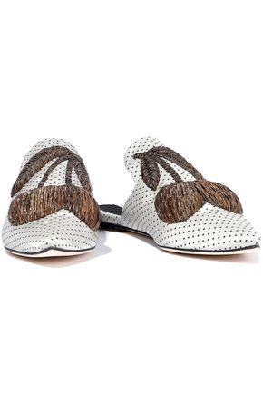 SANAYI 313 Ciliegia metallic embroidered polka-dot satin slippers