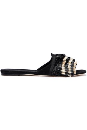 SANAYI 313 Chachacha fringed raffia and canvas slides