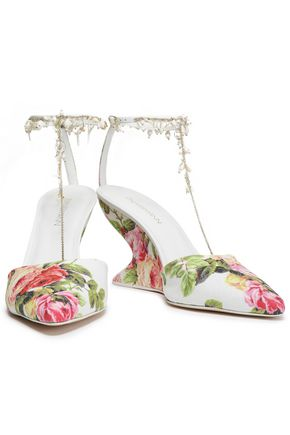 ZIMMERMANN Embellished woven raffia wedge pumps