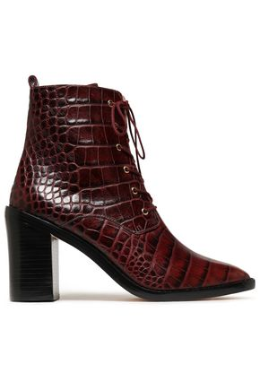 ZIMMERMANN Croc-effect leather ankle boots