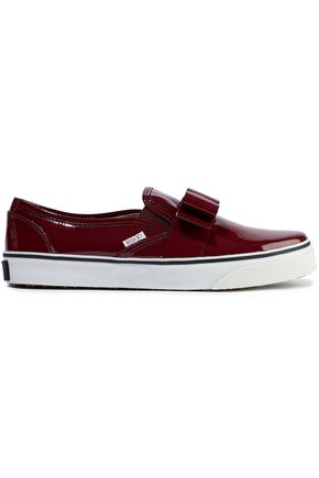 REDValentino Bow-embellished patent-leather slip-on sneakers