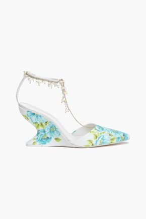 ZIMMERMANN Embellished woven raffia wedge pumps