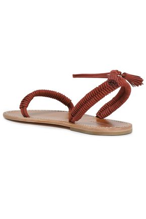 ZIMMERMANN Tasseled braid-trimmed leather sandals