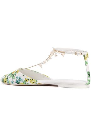ZIMMERMANN Goldentime embellished woven point-toe flats