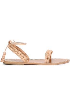 ZIMMERMANN Tasseled braid-trimmed leather sandals
