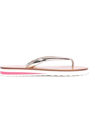 RED(V) Mirrored-leather flip flops