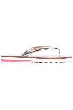 RED(V) Metallic leather flip flops