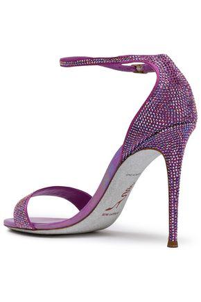 RENE' CAOVILLA Swarovski crystal-embellished satin sandals