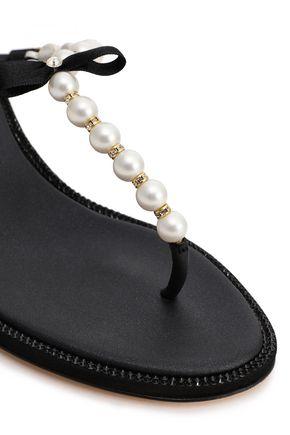 RENE' CAOVILLA Embellished leather wedge mules