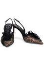 RENE' CAOVILLA Crystal-embellished plissé-organza and lace slingback pumps