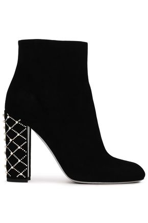 RENE' CAOVILLA Embellished suede ankle boots