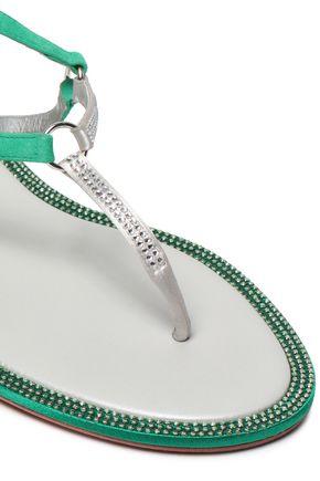 RENE' CAOVILLA Crystal-embellished suede sandals