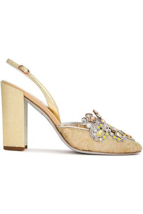 RENE' CAOVILLA Veneziana embellished lace and karung slingback pumps