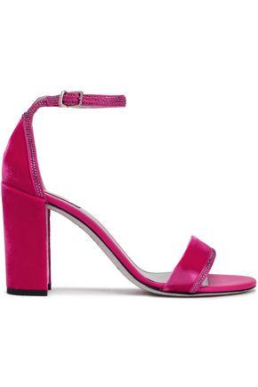 c1ecf3ea7950 RENE  CAOVILLA Crystal-embellished satin-trimmed velvet sandals