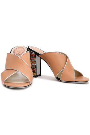 RENE' CAOVILLA Embellished leather mules