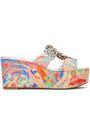RENE' CAOVILLA Embellished printed crepe platform sandals