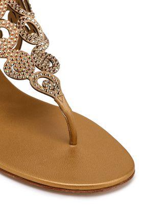 RENE' CAOVILLA Swarovski crystal-embellished laser-cut leather sandals