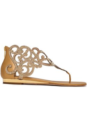 RENE' CAOVILLA Swarovski crystal-embellished laser-cut leather sandals