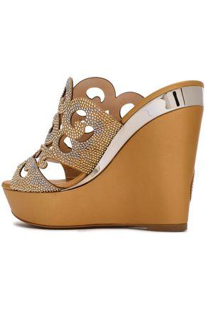 RENE' CAOVILLA Crystal-embellished laser-cut leather platform sandals