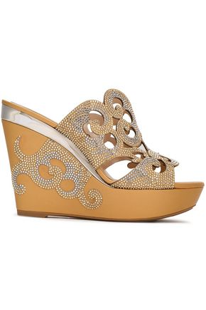 RENE' CAOVILLA Crystal-embellished laser-cut leather platform sandals