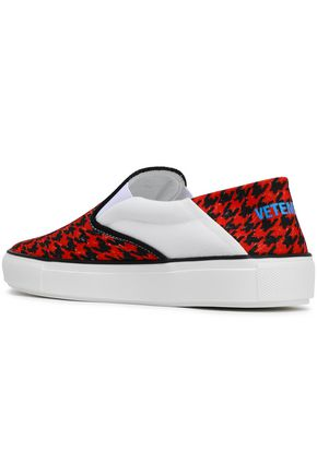 VETEMENTS Paneled houndstooth canvas sneakers