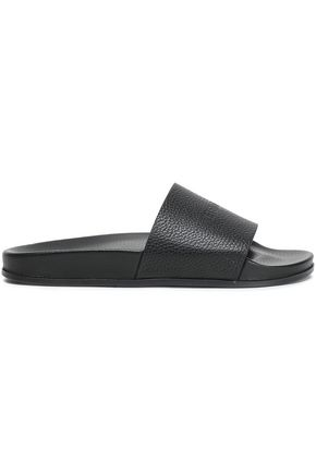 VETEMENTS Logo-embossed textured-leather slides