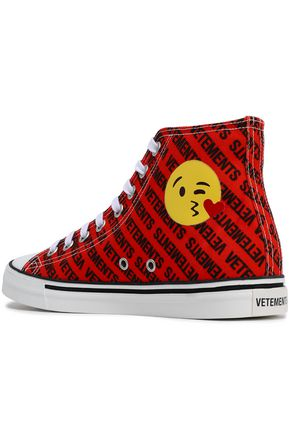 VETEMENTS Embellished printed canvas high top sneakers