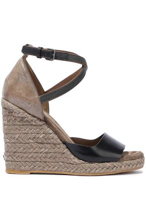 BRUNELLO CUCINELLI Bead-embellished smooth and glittered-leather espadrille wedge sandals