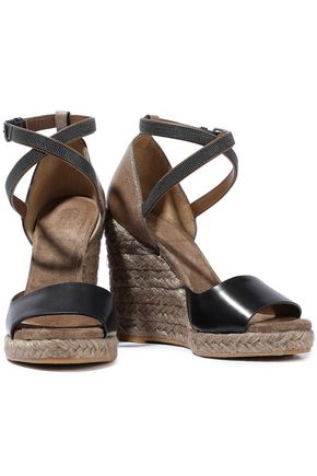 cf3ae611f026 BRUNELLO CUCINELLI Bead-embellished smooth and glittered-leather espadrille  wedge sandals