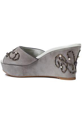 RENE' CAOVILLA Embellished suede wedge sandals