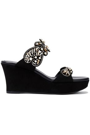 RENE' CAOVILLA Cutout embellished suede wedge sandals